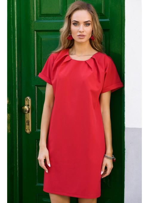 Raudona trumparankovė suknelė