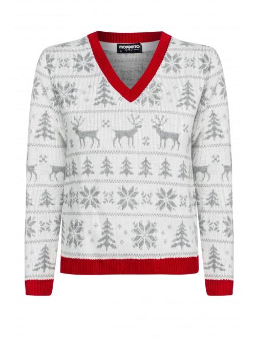 Baltas kalėdinis megztukas