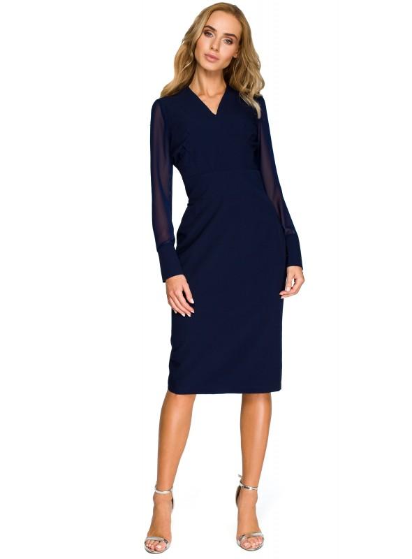 Juoda suknelė su šifoninėmis rankovėmis