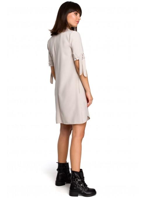 Juoda suknelė-tunika su linu