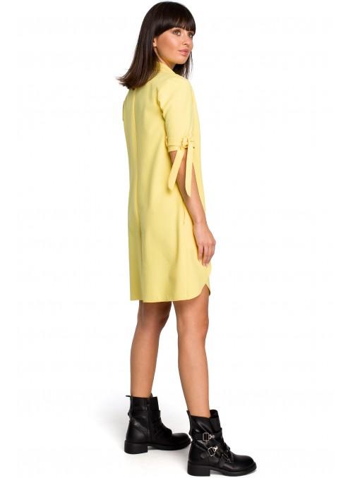 Geltona suknelė-tunika su linu