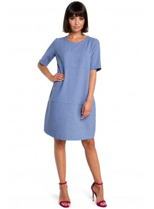 Mėlyna laisvo kirpimo suknelė