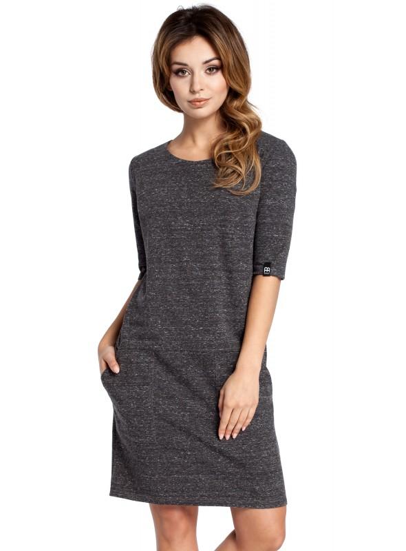 Pilka laisvalaikio suknelė su kišenėmis