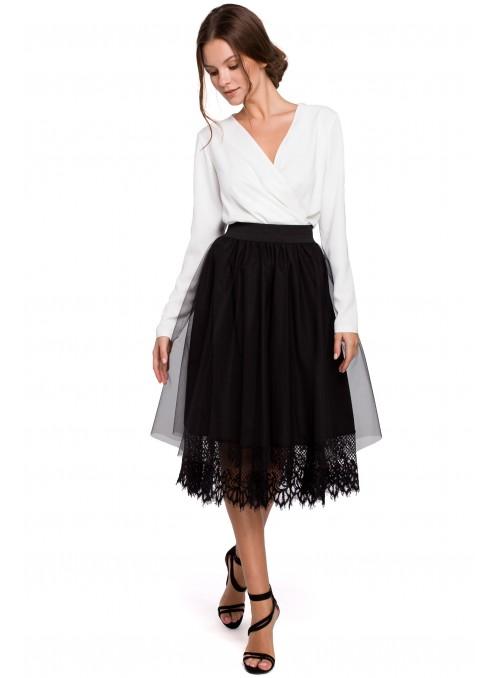Juodas puošnus sijonas