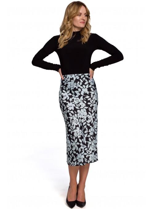 Melsvas, gėlėtas sijonas