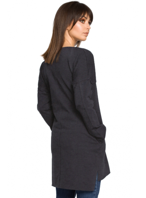 Tamsiai mėlyna tunika su kišenėmis
