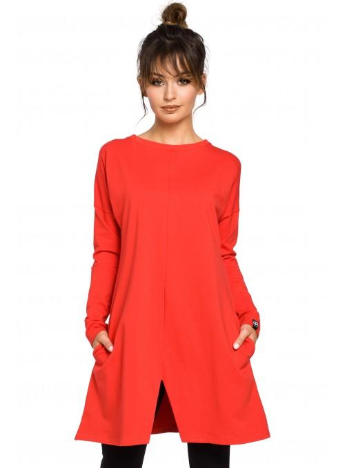 Raudona suknelė-tunika