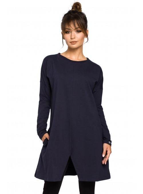 Tamsiai mėlyna suknelė-tunika