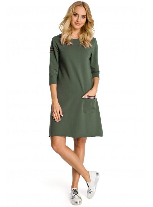 Žalia suknelė su kišenėle
