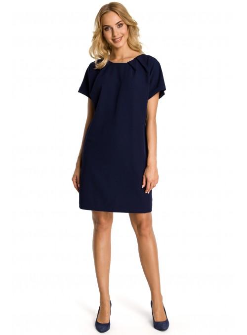 Tamsiai mėlyna trumparankovė suknelė