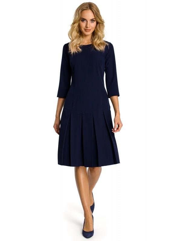 Elegantiška tamsiai mėlyna suknelė