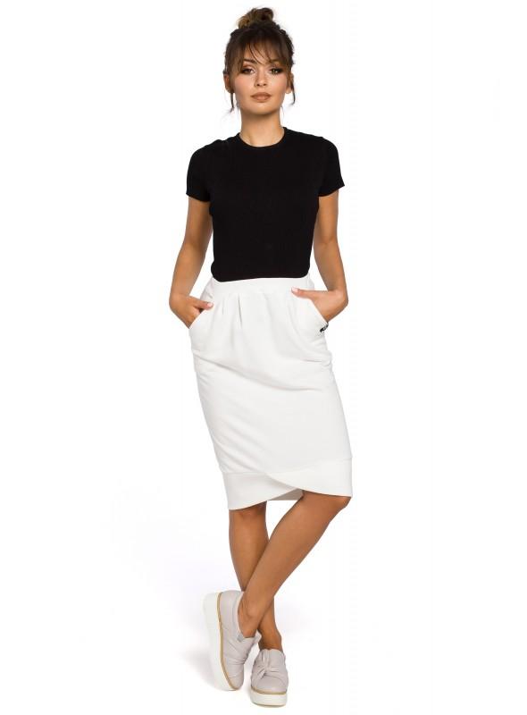 Kreminės spalvos sijonas su kišenėmis
