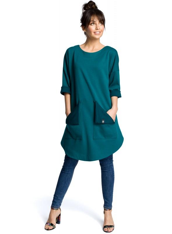 Žalia tunika su kišenėmis