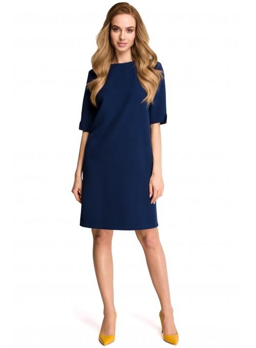 Tamsiai mėlyna minimalistinė suknelė