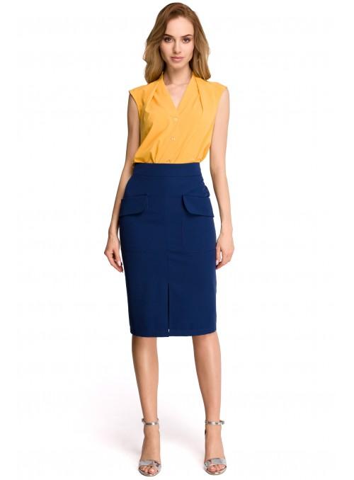 Pieštuko tipo tamsiai mėlynas sijonas